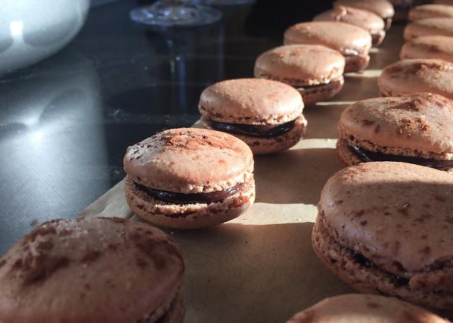 Baking Chocolate Orange macaron assembled