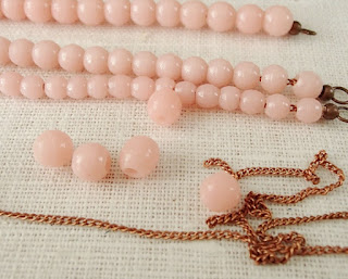 antique Prosser beads, French, pink