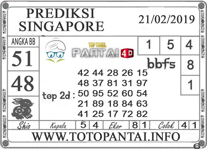 """Prediksi Togel """"SINGAPORE"""" PANTAI4D 21 FEBRUARI 2019"""