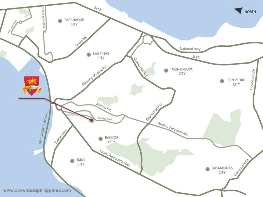 Vicinity Map Location Vita Toscana - Lladro | Crown Asia Prime House for Sale Molino Bacoor Cavite
