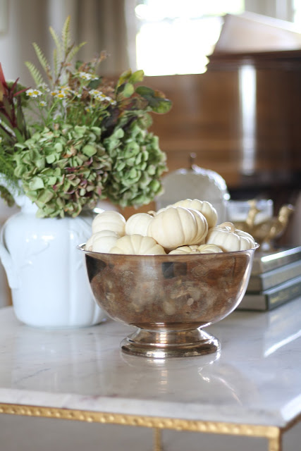 fall coffee table silver bowl white pumpkins and hydrangeas
