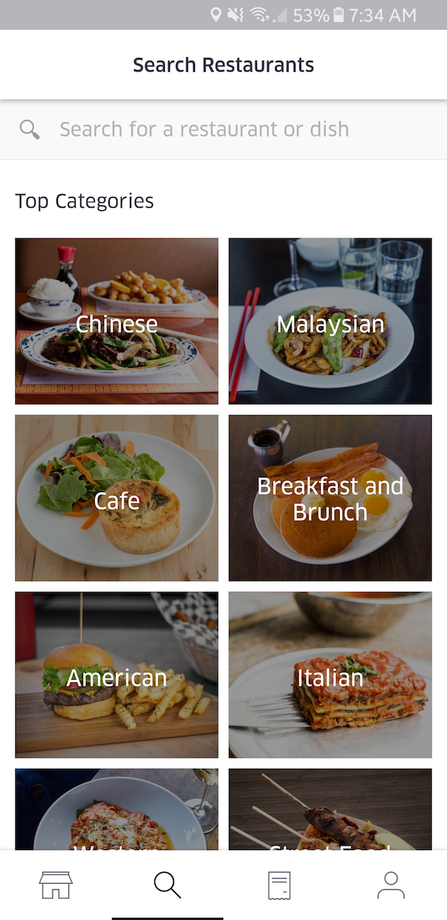 So many categories to select from in the UberEATS app