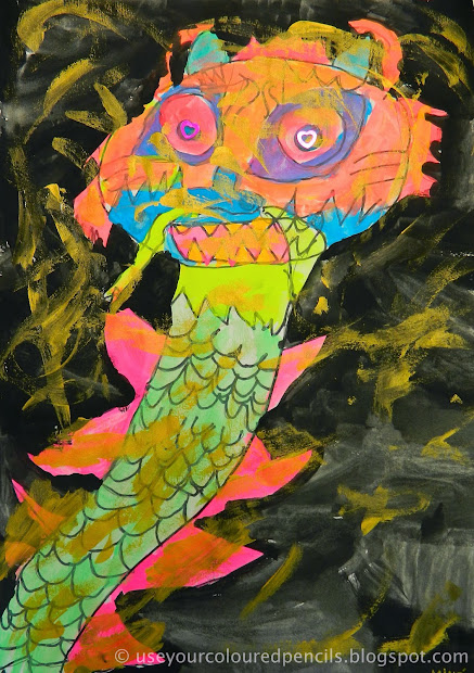 Coloured Pencils Chinese Dragon Paintings
