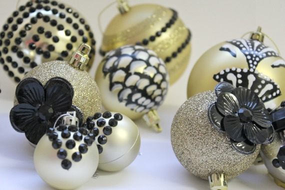gemstone christmas ornaments baubles diy in group handpainted black and whilte and gold