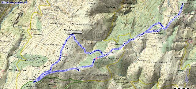 Mapa de la ruta Penouta y Fonteblanca