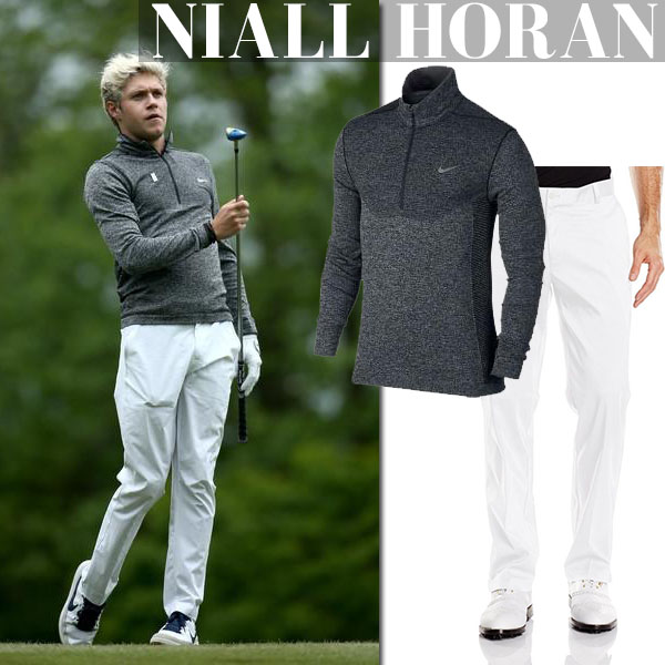 Niall Horan in grey nike golf shirt and white golf nike pants sportswear inspiration for men