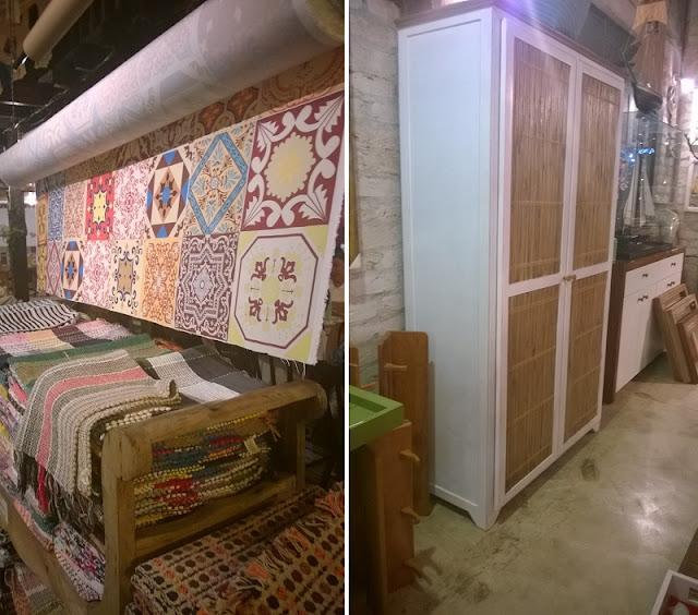 Tecido com estampa de ladrilhos e armário com portas de ripas de bambu