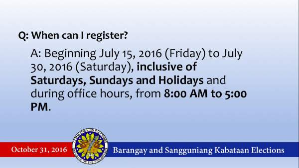 2016 Barangay and SK elections registration period. Image courtesy of COMELEC on Twitter.