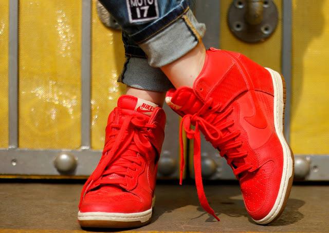 Red Nike Sky Dunk Hi, Sneakers, Nike, High-tops