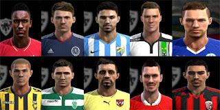 Faces: Danilo Soares, Diego Capel, Djurdjevic, Drinkwater, Elvedi, Flavio Ferreira, Gauld,  Gomez, Gross, Ozcan, pes 2013