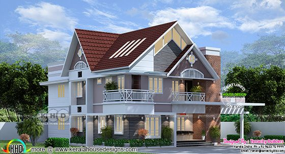 European model sloping roof house at Aluva