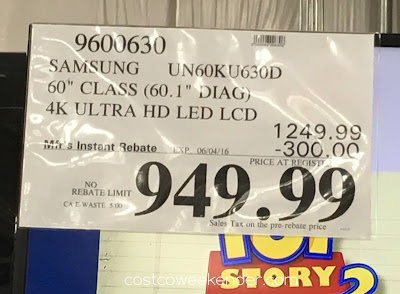Deal for the Samsung UN60KU630D 60 inch tv at Costco