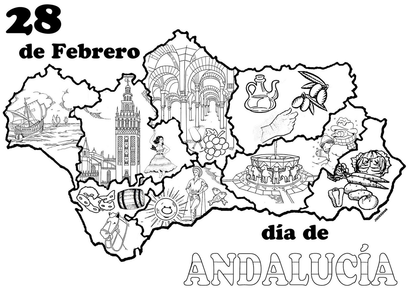 Trabajando en Educación Infantil: 10 mapas de Andalucía para colorear