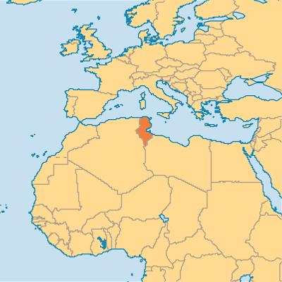 Map of Tunisia in Africa