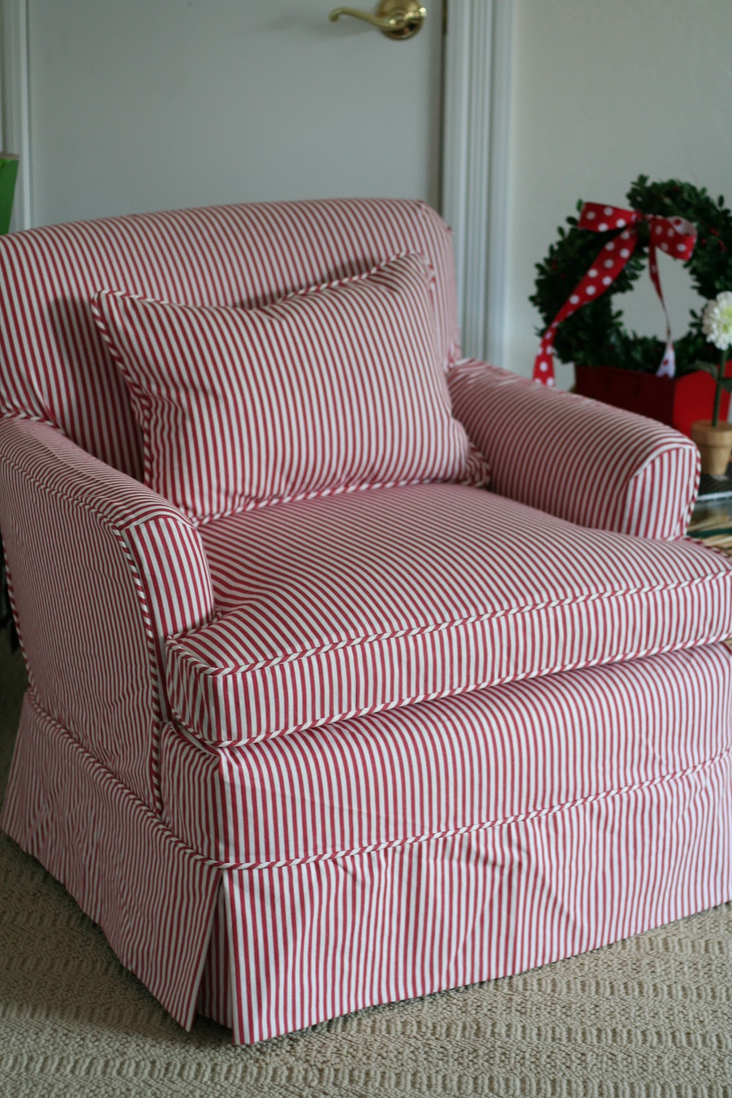 custom slipcovers by shelley red white striped chair. Black Bedroom Furniture Sets. Home Design Ideas