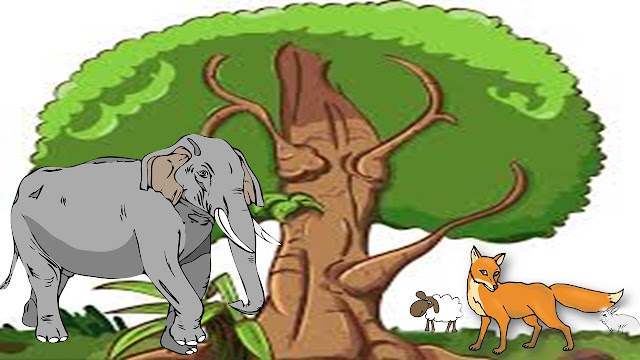 this is an image of kids story wich reprasent elephant and animanls