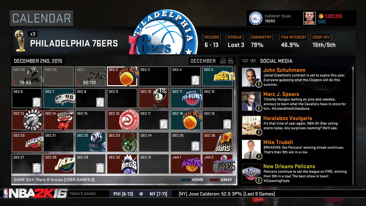 NBA 2k16 MyGM, MyLeague Modes : Calendar