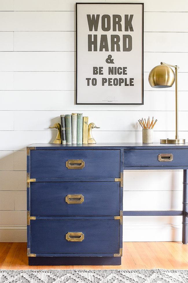 Coastal Blue painted mid century campaign desk
