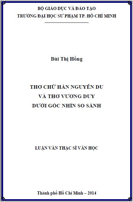 Thơ chữ hán Nguyễn Du và thơ Vương Duy dưới góc nhìn so sánh