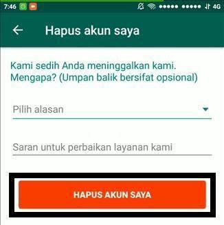 Cara Menghapus Permanen Akun Whatsapp 6