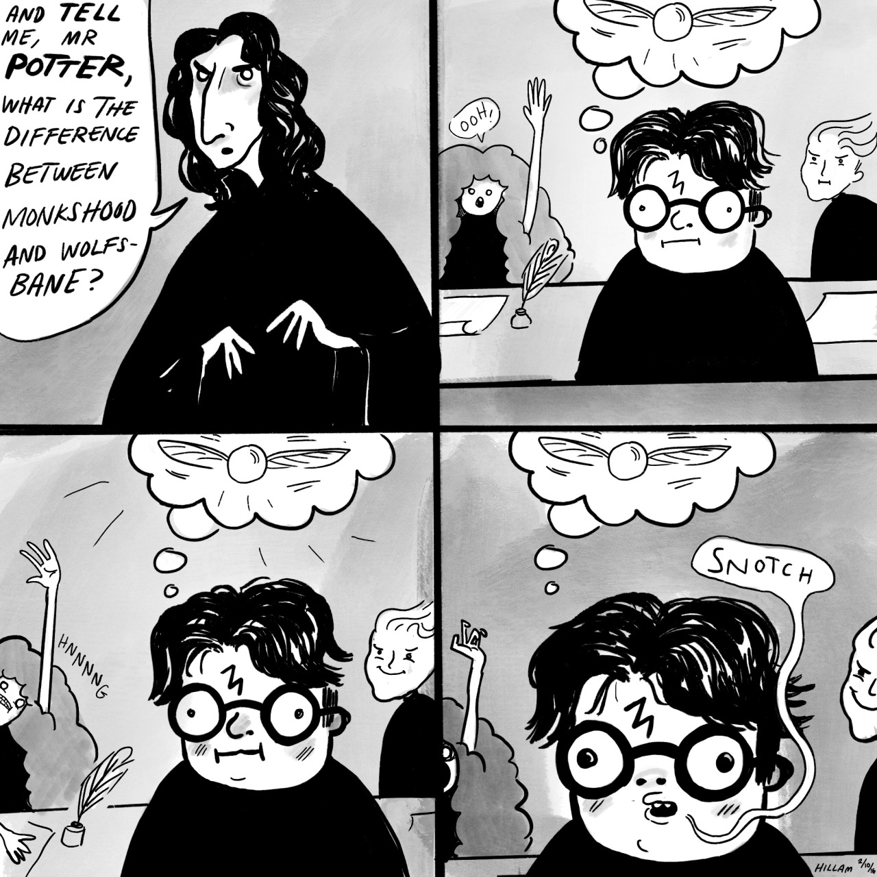 A comic with Harry daydreaming about Quidditch in Potions class