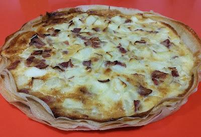 Pastís de poma i bacó amb formatge Idiazábal