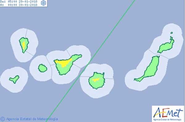 Las cumbres de La Palma, Gran Canaria y en el norte de Tenerife se han activado avisos amarillos por nevada hoy lunes 29 de enero
