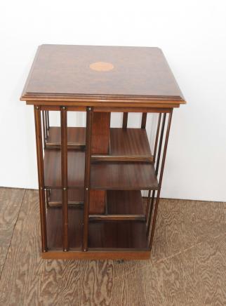 Regency Walnut Revolving Bookcase Side Table