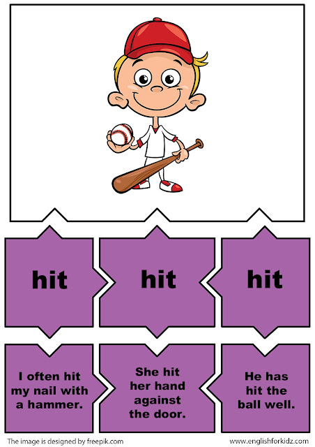 esl irregular verbs puzzle flashcards, verb hit