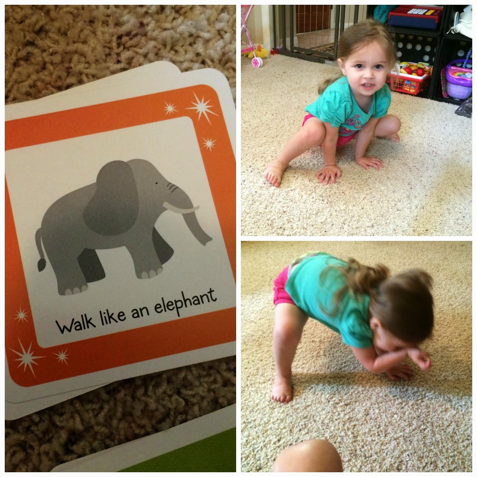 move & groove toddler game #ThinkFun walk like elephant