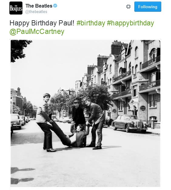 The Beatles Polska: Życzenia z okazji 74-tych urodzin McCartneya - wpisy w mediach społecznościowych