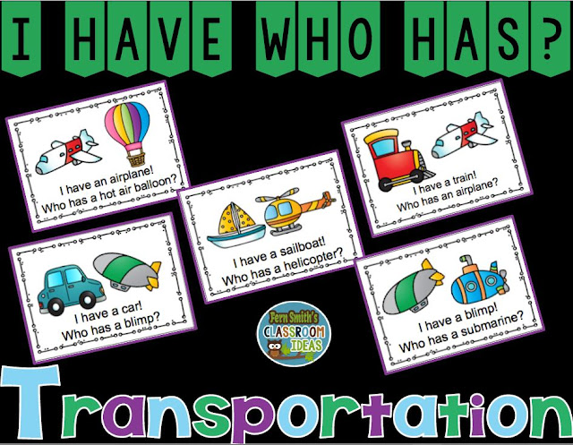 I Have, Who Has? Transportation Cards, Teacher Directions and a Teacher Answer Key by Fern Smith's Classroom Ideas Available for You at TeachersPayTeachers.