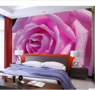 blommig tapet sovrum sovrumstapet blomma ros rosa fototapet