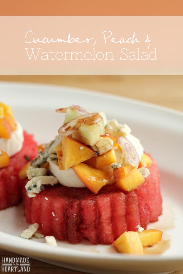 Watermelon, Peach & Cucumber Salad, delicious side or light lunch  HandmadeintheHeartland.com