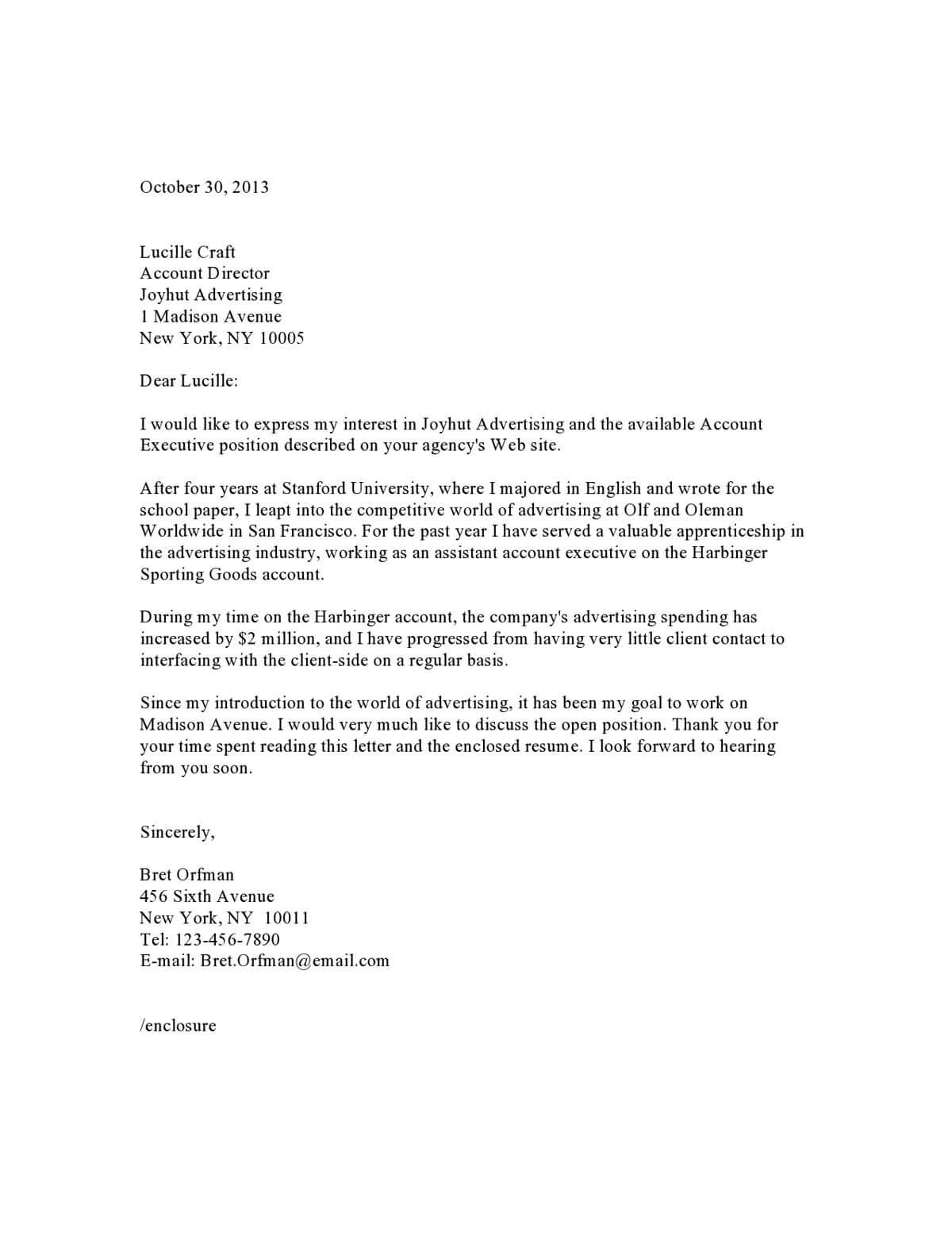 Surat Lamaran Pekerjaan Bahasa Inggris Berdasarkan Iklan