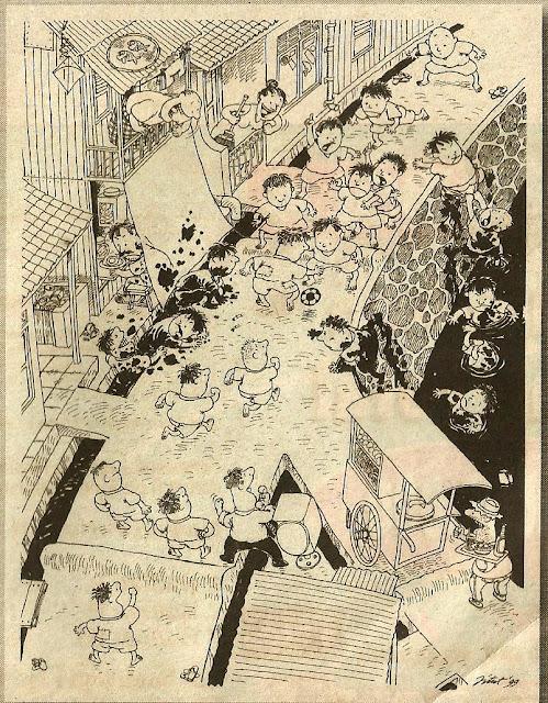 Kartun tentang bola karya Jitet Koestana. Kartun ini pernah dipublikasikan di media pada 26 Februari 1999.