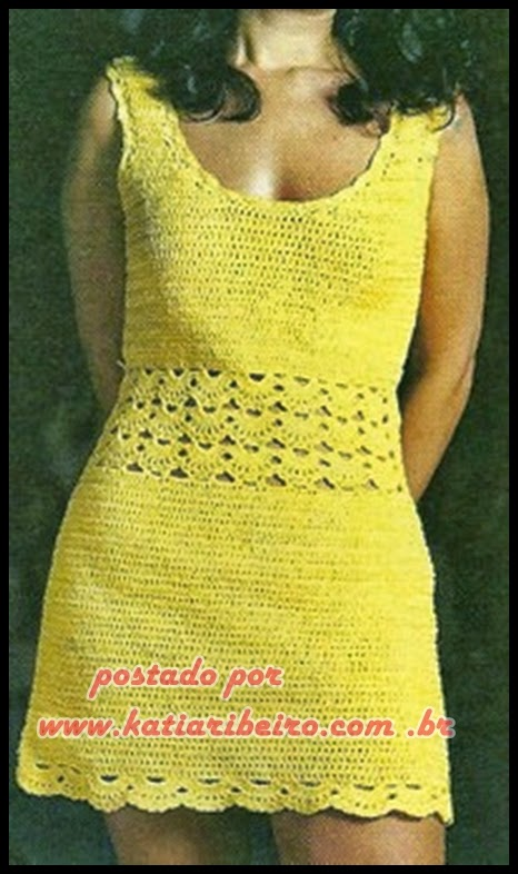 Vestido em crochê com gráfico e receita - Katia Ribeiro Crochê Moda e  Decoração f9f6405793c