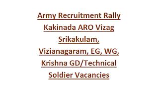 Indian Army Recruitment Rally Kakinada ARO Vizag Srikakulam, Vizianagaram, EG, WG, Krishna GD/Technical Soldier Vacancies Notification 2018