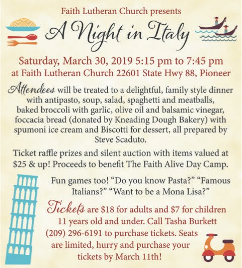 Faith Lutheran Church: A Night in Italy - Sat Mar 30
