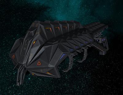 An alien spaceship flies through space.