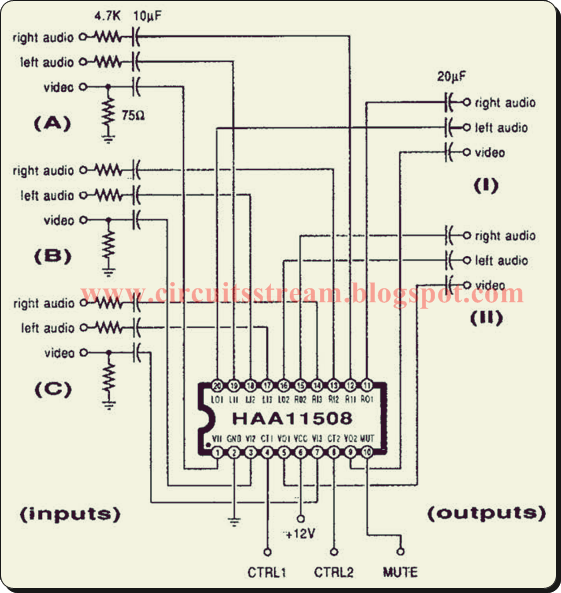 Simple But Latest Video/Audio Switcher Circuit Diagram