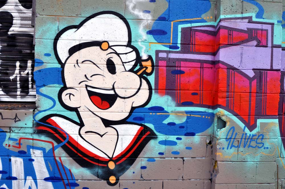 Popeye And The Scary Guy Graffiti