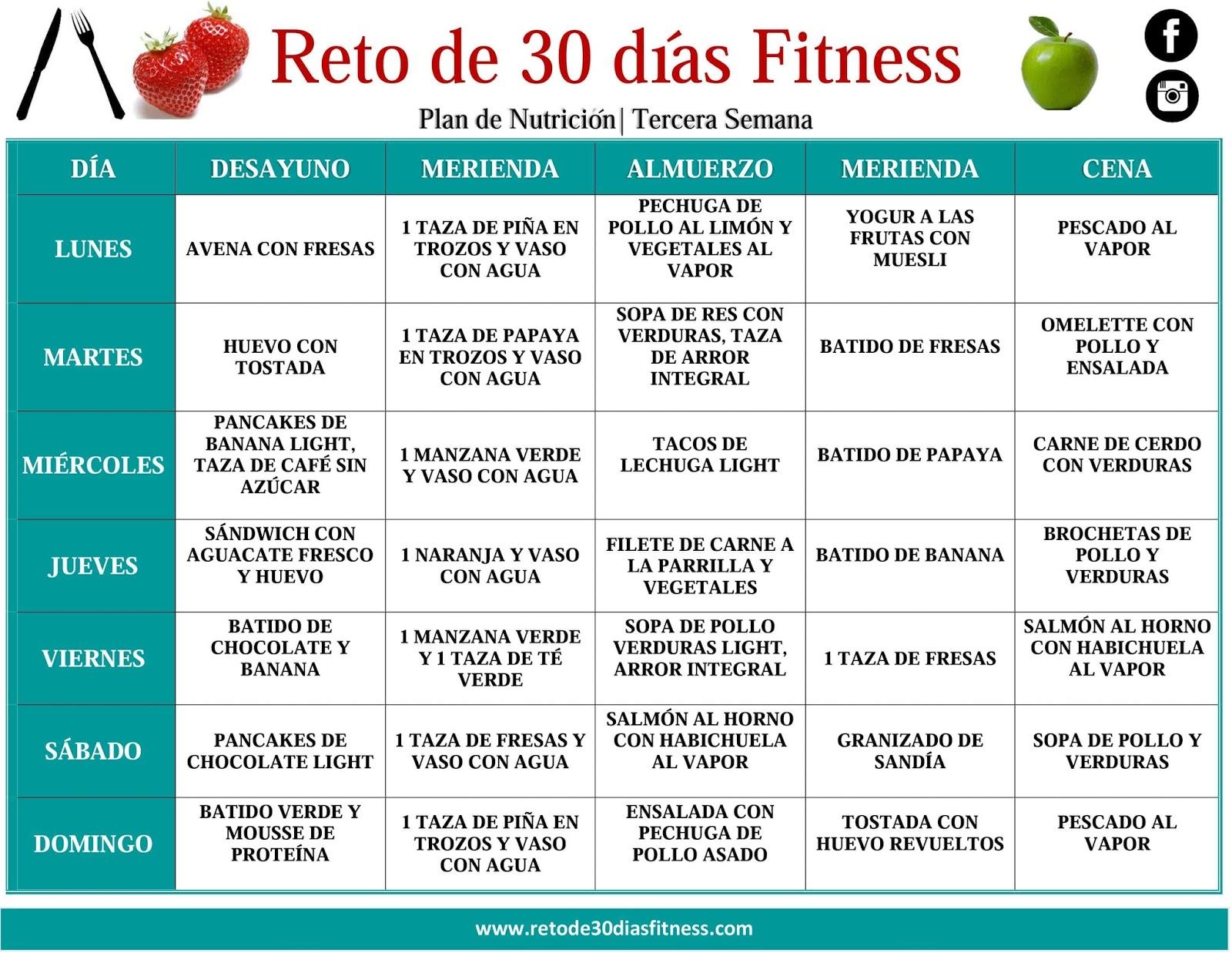 plan nutricional para bajar de peso tercera semana