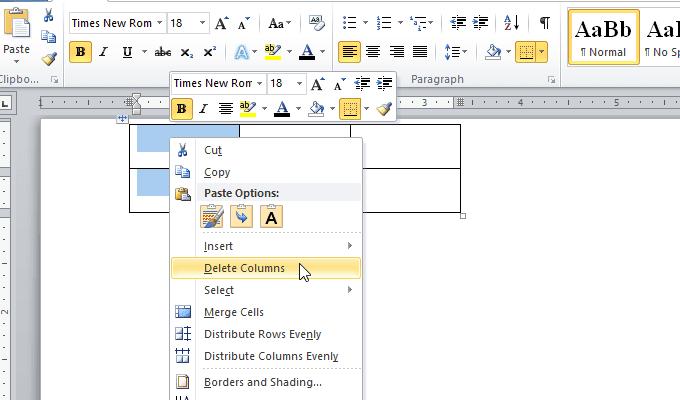 thêm, xóa cột hoặc hàng của bảng trong Word