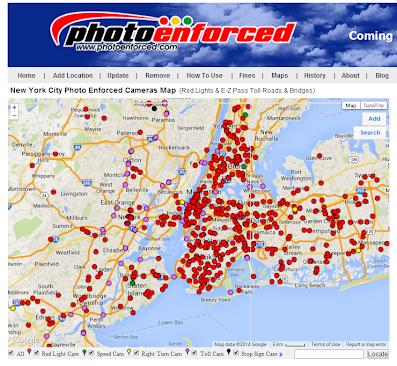 NYC red light cameras map