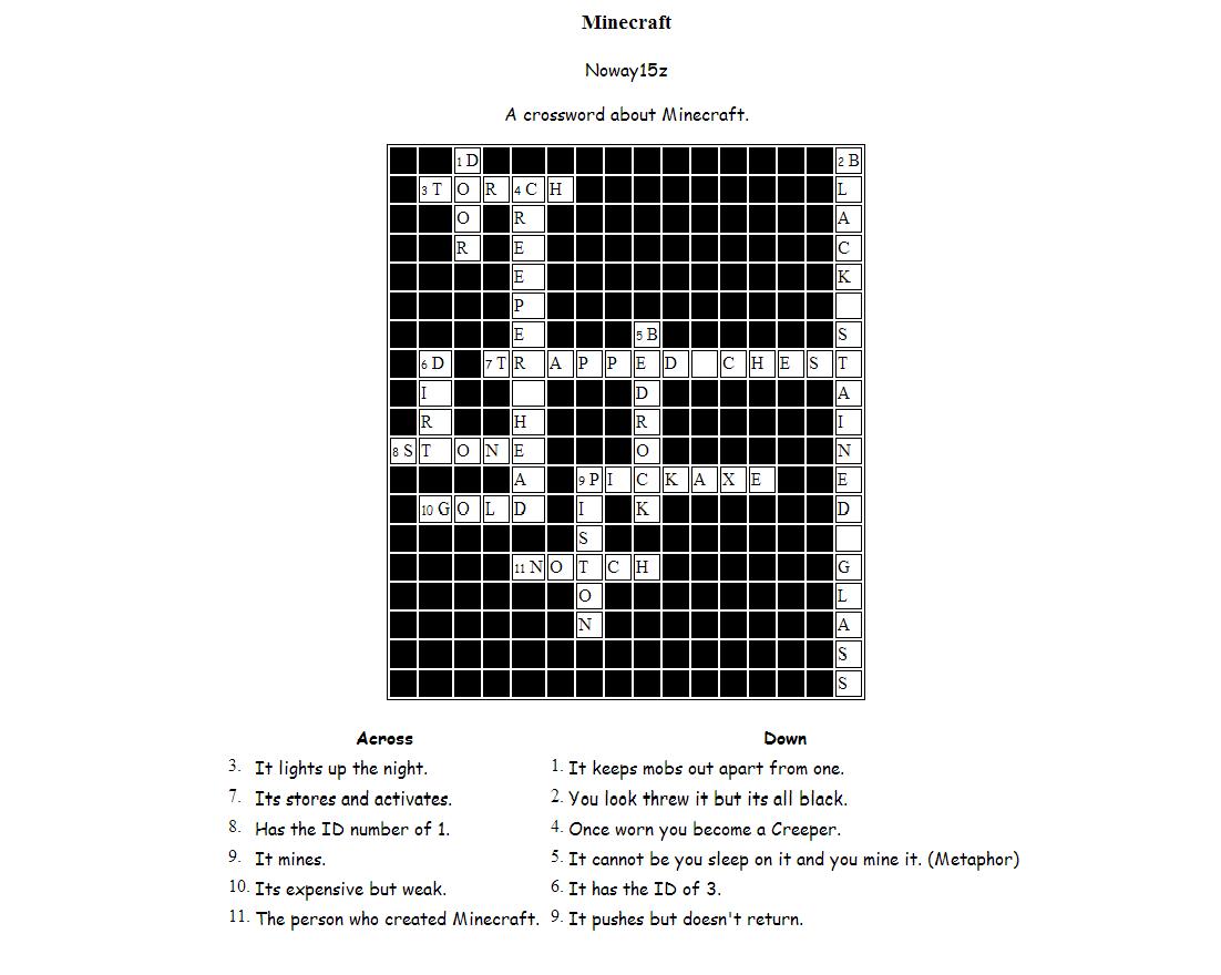 The Eternal Adventure: Minecraft Crossword