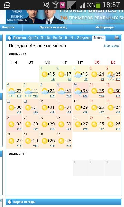 Долгосрочный прогноз погоды в астане на месяц.