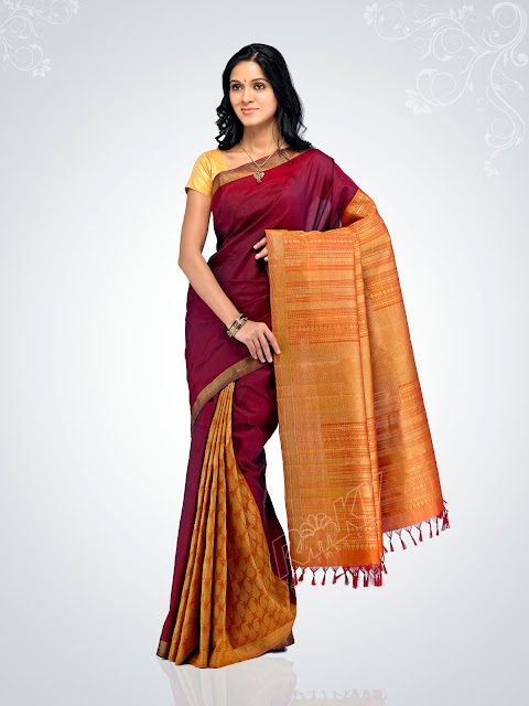 wedding sarees, kanchipuram silk sarees,Kanch Pattu Saree,New Indian Designer Collection of Bridal Sarees ,Cotton Sarees, Cotton Designer Saris,Cotton Sarees,bridal saree, wedding sari, party wear sarees, traditional indian sarees like zari, silk, printed,A perfect example of a traditional kanchipuram sari with a traditional look..yet elegant and stylish. I would love to accesorize like the lady in the picture above if I wear a Kanchipuram sari.. The pallu of this sari is really gorgeous with a lady standng in a red sari all hand woven and this sari is a very expensive one..I guess it costs more than  I simply adore this sari for its beautiful combination of colour, Orange and purple I'm still hunting for this combination but could not get the exact combination. This is simply adorable!!! another sari from RMKV silks.  This is a readymade sari for your little angel. This is a pure kanchipuram silk sari customized as a ready to wear outfit for small kids. I'm sure your little one's will be excited to wear this kutti pattu.. means saree for kid  The sari above is called the muppagam pattu the latest trend in Kanchipuram saris. You can see the border of the sari and the body in almost the same width. This sari is from Mahaveers a popular shop in Coimbatore THIS ONE IS A GADHWAL SILK, MY FAVOURITE BLUE.MY MOM IN LAW GIFTED ME. Sarees are the elegant and the sexiest outfit for Indian women. A lady looks very graceful and elegant in a saree.There are wide range of sarees in different materials and designs and work. The designer crepe,georgette and chiffons are popular these days and when it comes to a formal occassion my personal choice definitely would be traditional sarees specially kanchivaram sarees.One can choose kanchivaram sarees as per their own taste.The variety ranges from simple,elegant sarees to a very grand saree and the price range vary with the zari work in the saree. A simple saree with minimum zari work will cost any where between 3000 to 4500 INR, and the maximum range goes beyond 60,000 and sky is the limit.But one can definitely buy a good elegant saree with price range anywhere between 5000 to 10,000INR.Nowadays one can buy a plain kanchivaram saree without any zari work and one can design as per their taste.There are ladies in Chennai to design these kind of sarees as per their customer's choice.One can customize these plain sarees with kundan,zardoshi or any other design one prefer.But my personal choice  would be the traditional kanchivaram saree with it's zari work.They have their own grace.There are kanchivaram silk skirts available for cute little girls and teenage girls.If you have a girl baby you should definitely try these skirts and I swear your child will look like goddess lakshmi in this outfit.Teenage girls can wear half saree and blouse with kanjivaram silk skirt when they go for a formal function and can wear simple gold bangles, a choker and a pair of jhumkas and can wear asimple tikka(netthi chutti), definitely you will get loads of compliments for sure.For ladies wearing saree they can wear traditionalstonned necklace like ruby,emerald and blue sapphire to match your saree or there are wide range of 1 gram gold ornaments available in the market and you can choose from that according to your budget.I will give a list of names of shops from wher you can purchase good kanchivaram sarees,gold jewellery and artificial and one gram jewellery