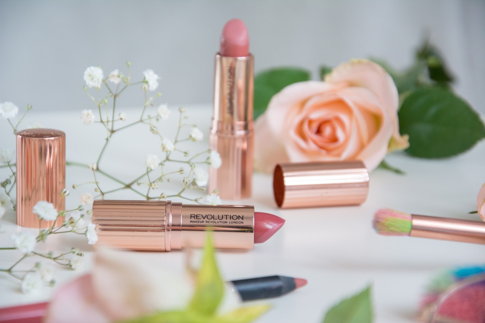 Makeup Revolution Renaissance Lipstick; Lahaye Unicorn Brushes; Primark Lipliner