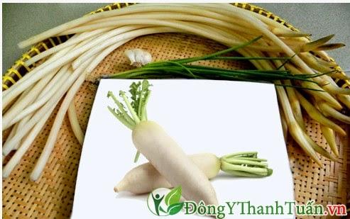 củ cải và ngó sen chữa bệnh đau dạ dày